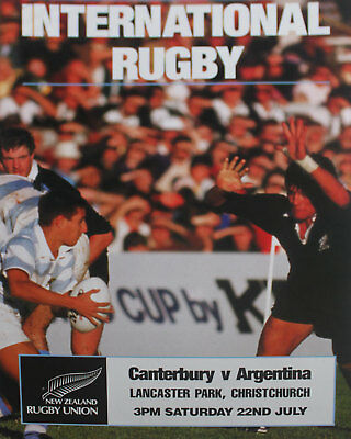 CANTERBURY,NZ v ARGENTINA RUGBY POSTER 1990