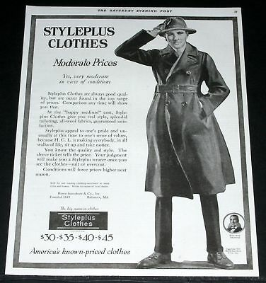 1919 Old Magazine Print Ad, Styleplus Clothes, Moderate Prices & Good Quality!
