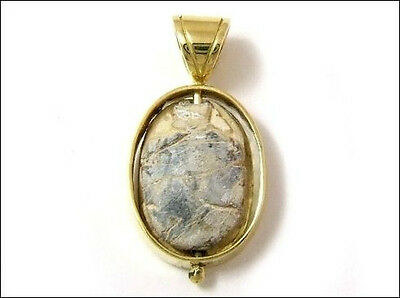 Authentic Stone Cannanite Scarab In 18K Gold Pendant