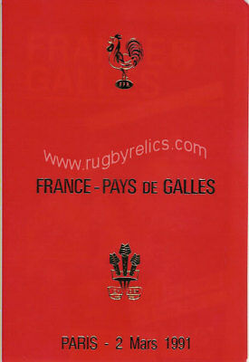 FRANCE v WALES 1991 SPECIAL EDITION RUGBY PROGRAMME