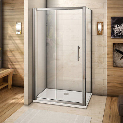 1100x700mm Sliding shower enclosure door and side panel chrome 6mm safety glass