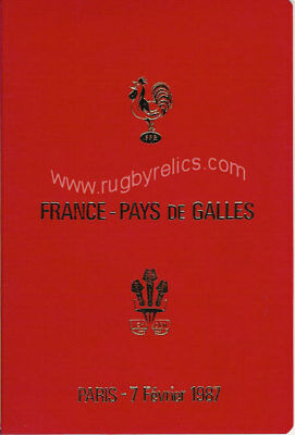 FRANCE v WALES 1987 SPECIAL EDITION RUGBY PROGRAMME