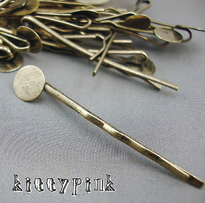 20 Antique Bronze Bobby Hair Pin Clip Slide Accessories Blanks Pad Craft