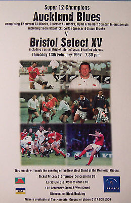 BRISTOL SELECT v AUCKLAND BLUES RUGBY TEAM POSTER 1997