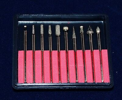 Diamond Coated Steel Burs For Rotary Tools Set Of 10