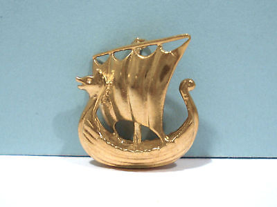 Solid 9Kt Yellow Gold 3-D Viking Ship Charm