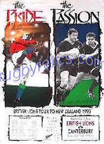 CANTERBURY v LIONS 1993 RUGBY TEAM POSTER 1993