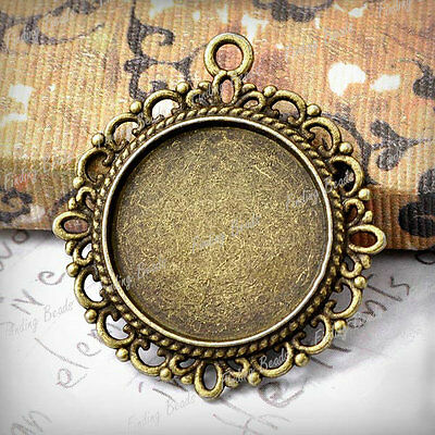 10 Round Charms Cabochon Settings Antique Brass TS7410