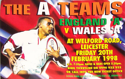 ENGLAND A v WALES A RUGBY TEAM POSTER 1998