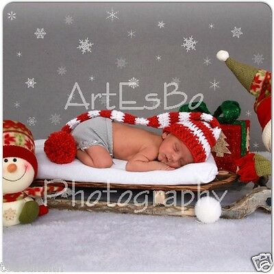 Crochet Baby Rouge Red Long Tail Elf Hat - Photo Prop
