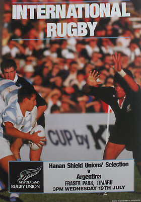 HANAN SHIELD UNIONS,NZ v ARGENTINA RUGBY POSTER 1990