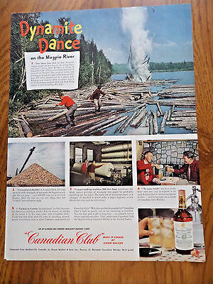 1949 Canadian Club Whiskey Ad Lumber Jack School  Northern Ontario Magpie River