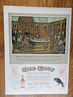 1949 Old Crow Whiskey Ad Court Room Roblee Shoes Ad