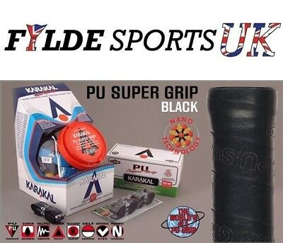 12 Black Karakal PU Super Grip Black Racket Grips Black