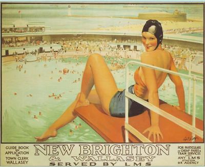 Vintage New Brighton Railway Poster A3 Reprint