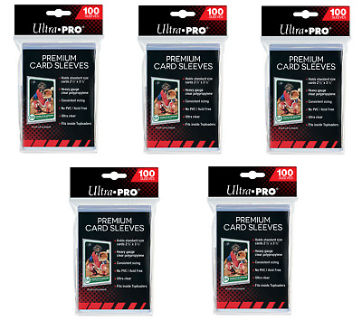 (500) Ultra Pro Premium Platinum Trading Card Sleeves Heavy Duty 5 Packs
