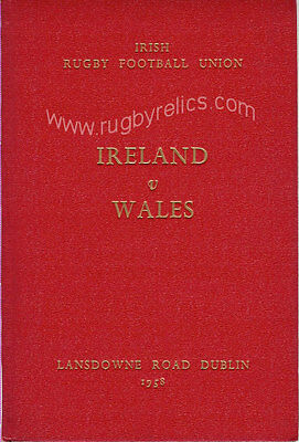 IRELAND v WALES 1958 SPECIAL EDITION RUGBY PROGRAMME