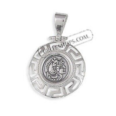 Sterling Silver Pendant Ancient Coin Greek Key Athena