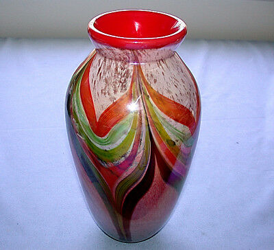 Beautiful Hand Blown Multicolor Art Glass Feather Vase