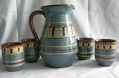 Troyan Pottery Pitcher and Cups from Bulgaria Redware with Blues, Cream Slip