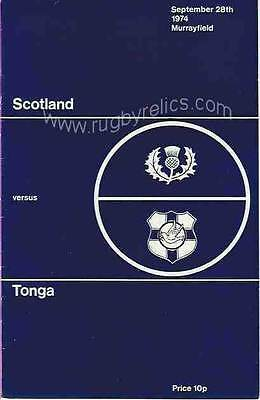 SCOTLAND v TONGA 28 Sep 1974 RUGBY PROGRAMME at Murrayfield