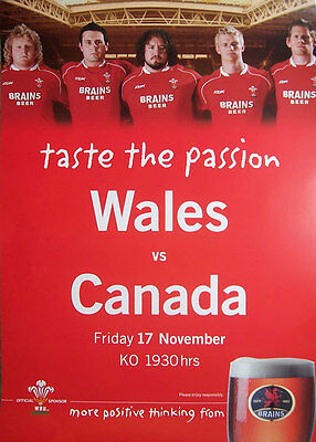 WALES v CANADA 2006 MATCH ADVERTISING RUGBY POSTER