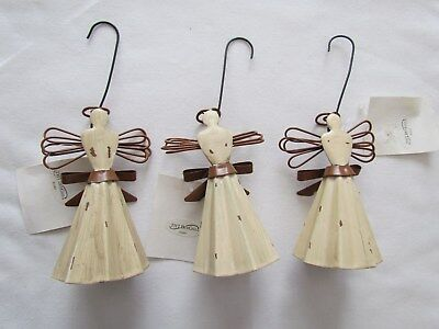 Primitive Corrugated Metal ANGEL ornaments ~ set 3 NEW