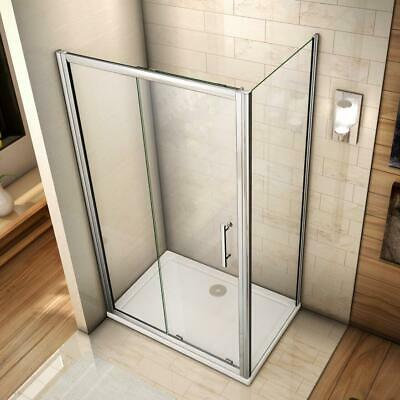 1200x700mm Sliding shower enclosure door and side panel chrome 6mm safety glass
