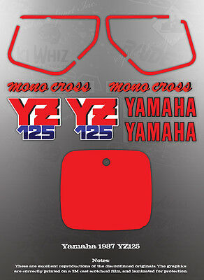 YAMAHA 1987 YZ125 FENDER COVER DECAL GRAPHIC SET