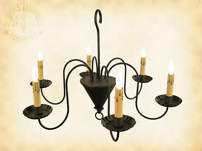 6-arm Williamsburg Wrought Iron Metal Chandelier   Country Colonial Lighting