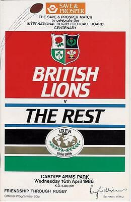BRITISH LIONS v THE REST OF THE WORLD 1986 RUGBY PROGRAMME WITH COA