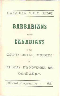 BARBARIANS v CANADA 1962 RUGBY PROGRAMME