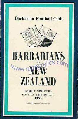 BARBARIANS v NEW ZEALAND 1954 RUGBY PROGRAMME