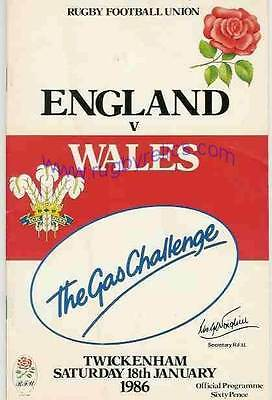 ENGLAND v WALES 18 JAN 1986 RUGBY PROGRAMME WITH COA