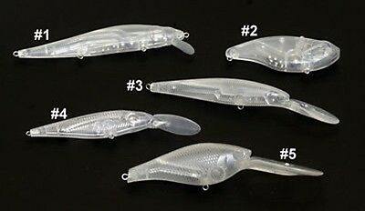 5 UNPAINTED Clear CrankBaits - Set of 5 Assorted Baits - Top Quality Lure Blanks
