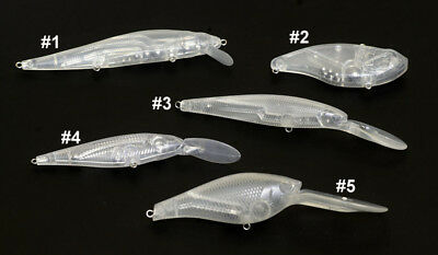 5 UNPAINTED Clear  LC Pointer Crank Baits - Top Quality Lure Blanks