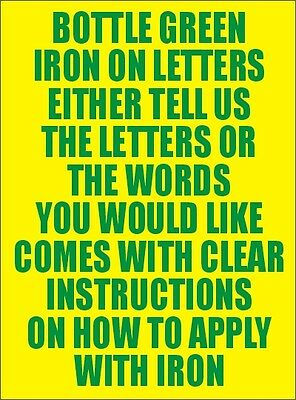 Two Inch Bottle Green Iron On Characters - Letters or Numbers Vinyl Printing