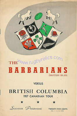 BRITISH COLUMBIA v BARBARIANS 1957 RUGBY PROGRAMME