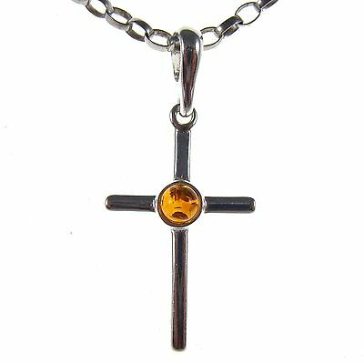 Gift Boxed Baltic Amber Sterling Silver 925 Cross Pendant Jewellery Jewelry