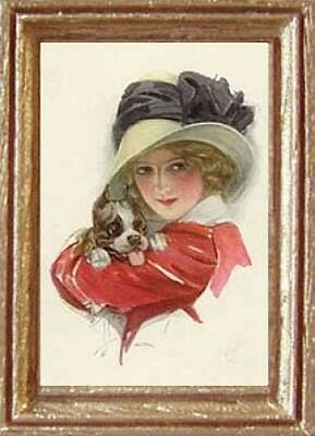 WOMAN /& DOG Dollhouse Picture FAST DELIVERY MADE IN AMERICA Art Miniature