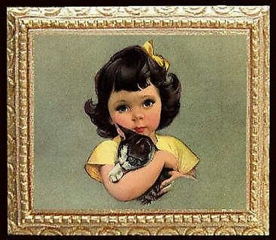 MADE IN USA FAST DELIVERY LITTLE GIRL /& KITTY Miniature Dollhouse Picture