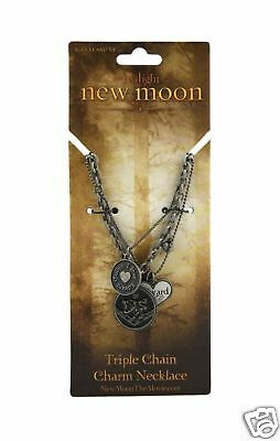 NEW MOON Charm Necklace Triple Chain Edward Cullen NEW