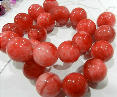 """18mm Red flower Ruby Gemstone Round Loose Beads 15 """""""