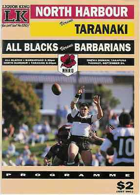 ALL BLACKS v NZ BARBARIANS 1990 RUGBY PROGRAMME