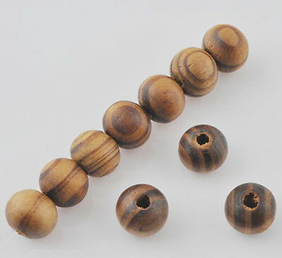 200 Pcs Brown Wood Spacer Loose beads Bracelets findings charms 8mm