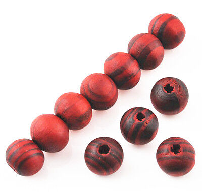 200 Pcs RED Wood Spacer Loose beads Bracelets Necklace findings charms 8mm