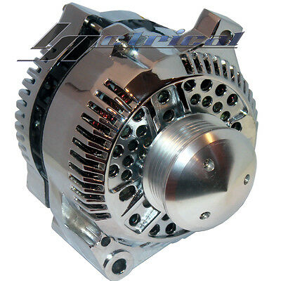 Chrome Alternator For Ford Mustang Cobra W/ 6 Groove Billet Pulley High 160 Amp