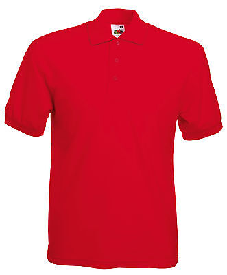 Red Mens Fruit Of The Loom Polo Golf Shirt, New,  S M L Xl Xxl
