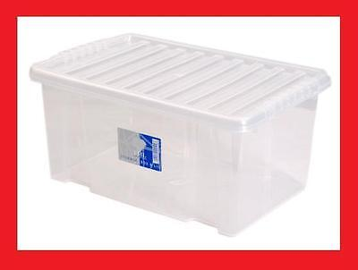 Plastic Clear Storage Case Box Boxes Set Container + Lid 8 litre New!