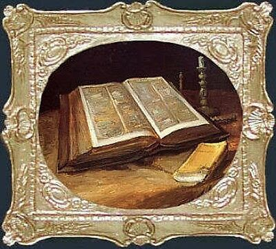 Van Gogh BIBLE Dollhouse Picture - Framed Miniature Art - MADE IN AMERICA